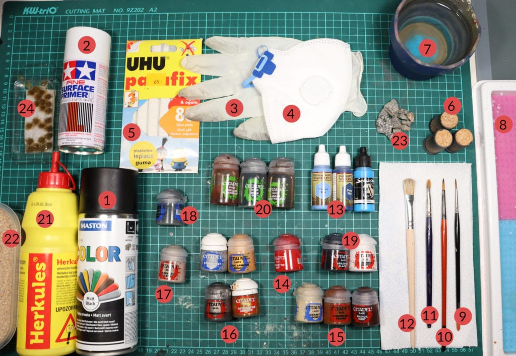 Necessary tools for miniature painting every beginner needs.